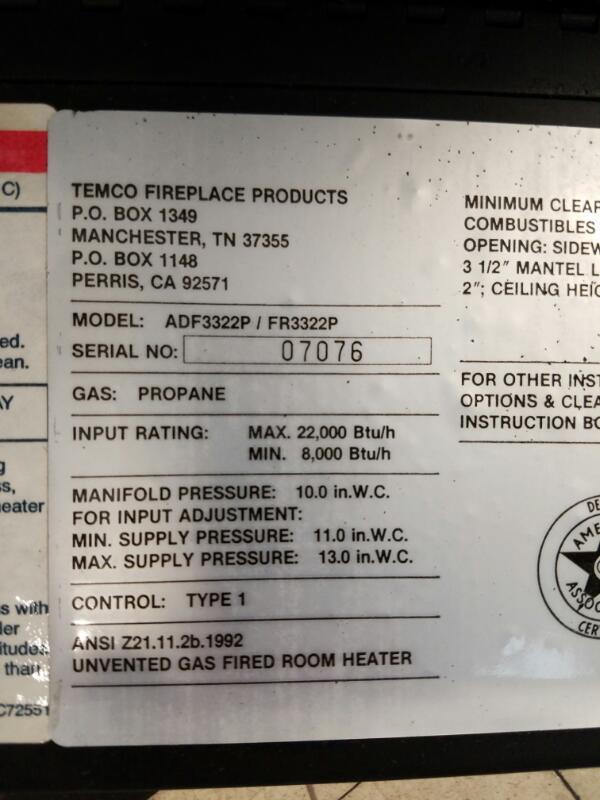 """Tempco 32"""" Fireplace ADF3322P FR3322P Gas / Propane 8,000 / 22,000 BTU"""