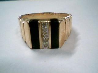 Synthetic Onyx Lady's Stone & Diamond Ring 5 Diamonds .05 Carat T.W.