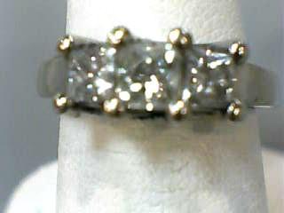 Lady's Diamond Fashion Ring 3 Diamonds .93 Carat T.W. 14K White Gold 3.1dwt