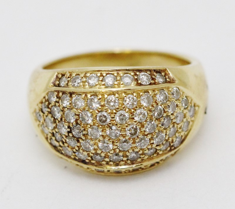 14K Yellow Gold Round Pave Set Diamond Cluster Statement Ring Size 8.75