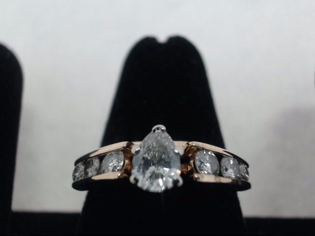 Lady's Diamond Fashion Ring 10 Diamonds 1.09 Carat T.W. 14K Yellow Gold 4g