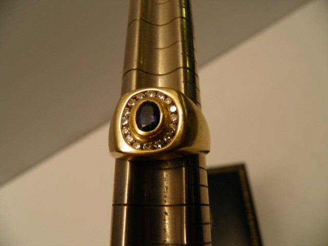 Sapphire Gent's Stone & Diamond Ring 16 Diamonds .32 Carat T.W. 14K Yellow Gold