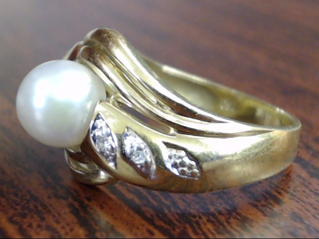 VINTAGE PEARL DIAMOND RING BAND SOLID 18K YELLOW GOLD 750 SIZE 6.25