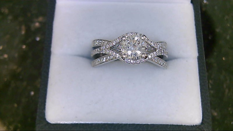 Lady's 14K White Gold 0.85 CTTW Diamond Engagement Ring 5.9G