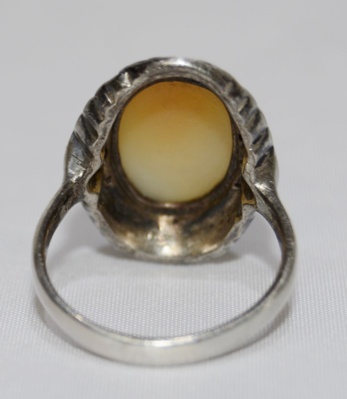 Vintage .900 Coin Silver Filigree Cameo Ring Size 7