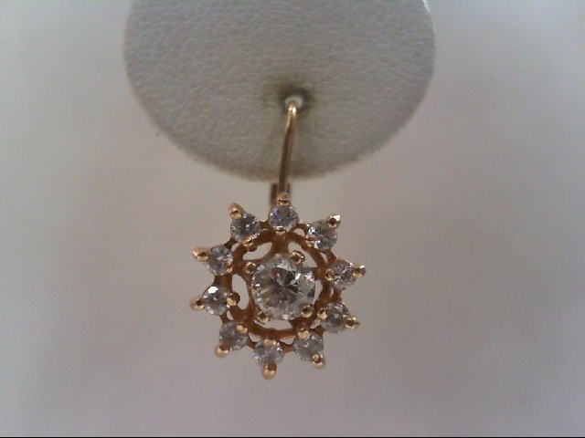 Gold-Diamond Earrings 22 Diamonds .96 Carat T.W. 14K Yellow Gold 3g