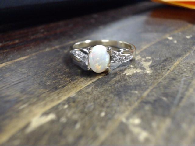 White Stone Lady's Stone & Diamond Ring 3 Diamonds .03 Carat T.W.