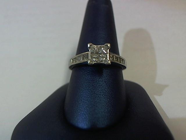 Lady's Diamond Solitaire Ring 12 Diamonds .88 Carat T.W. 14K White Gold 4.2g