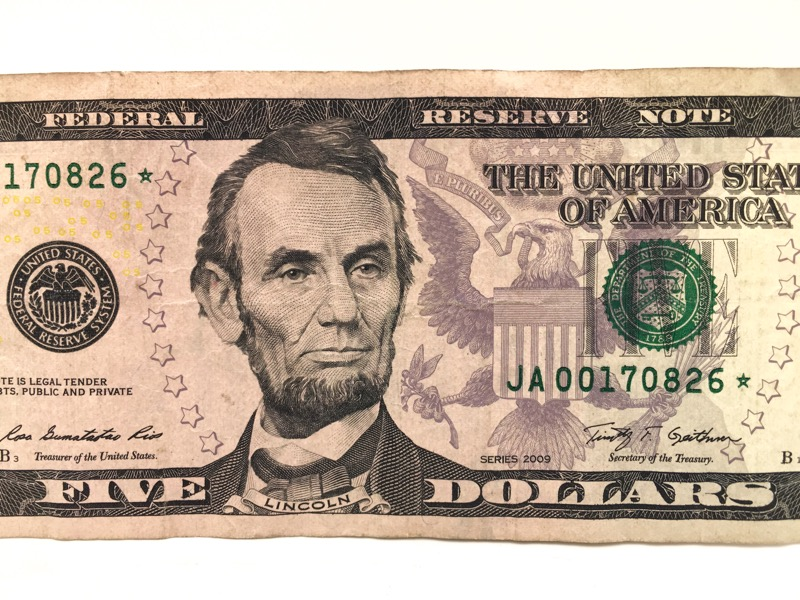 2009 $5 Five Dollar STAR NOTE - JA Boston Serial No. -