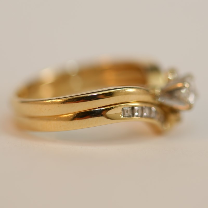 Vintage Inspired 14K Yellow Gold Diamond Wedding Ring Set Size 6.5