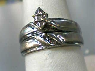 Lady's Diamond Wedding Set .02 CT. 10K White Gold 2.9dwt Size:7