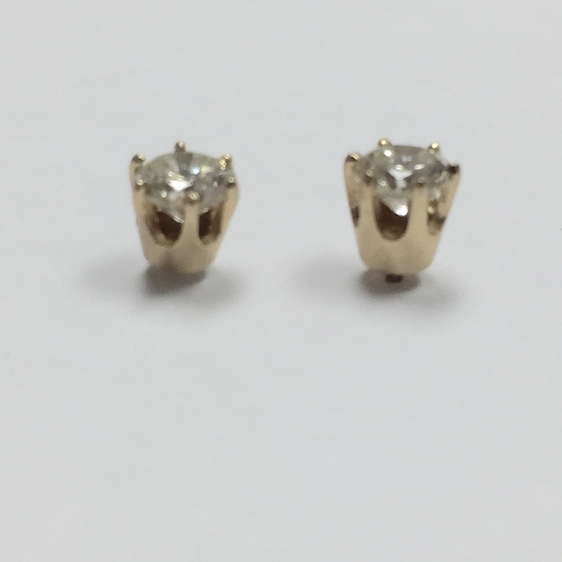 Gold-Diamond Earrings 2 Diamonds .76 Carat T.W. 14K Yellow Gold 0.8dwt