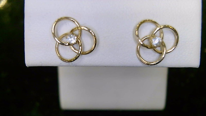 Lady's 14k yellow gold cz triple circle earrings