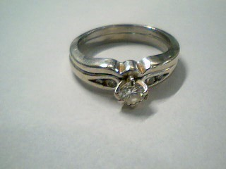 Lady's Diamond Wedding Set 5 Diamonds .26 Carat T.W. 14K White Gold 4.2g Size:6