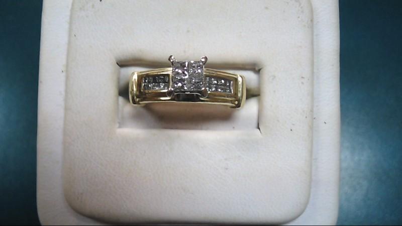 Lady's Diamond Cluster Ring 27 Diamonds .63 Carat T.W. 14K Yellow Gold 8.4g