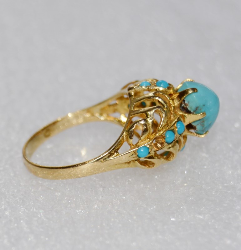 Antique Turquoise Lady's Stone Ring 18K Yellow Gold 4.48g Size:7