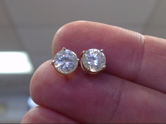 Synthetic Cubic Zirconia Gold-Stone Earrings 14K Yellow Gold 0.85dwt