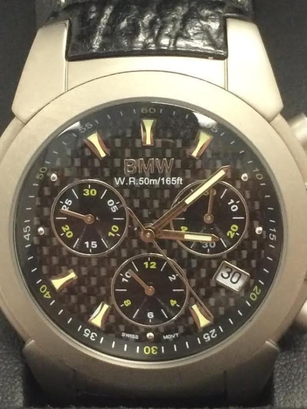 BMW Chronograph Watch Titanium Case Swiss 13 Jewel Ronda 5030.D Leather Band
