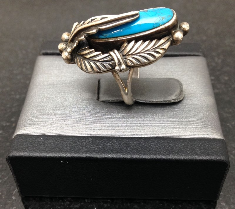 Lady's Sterling Silver Vintage Navajo Southwestern Turquoise Leaf Ring Size:6