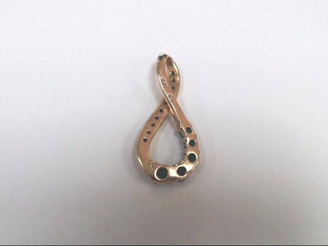 Synthetic Emerald Gold-Diamond & Stone Pendant 9 Diamonds .09 Carat T.W.