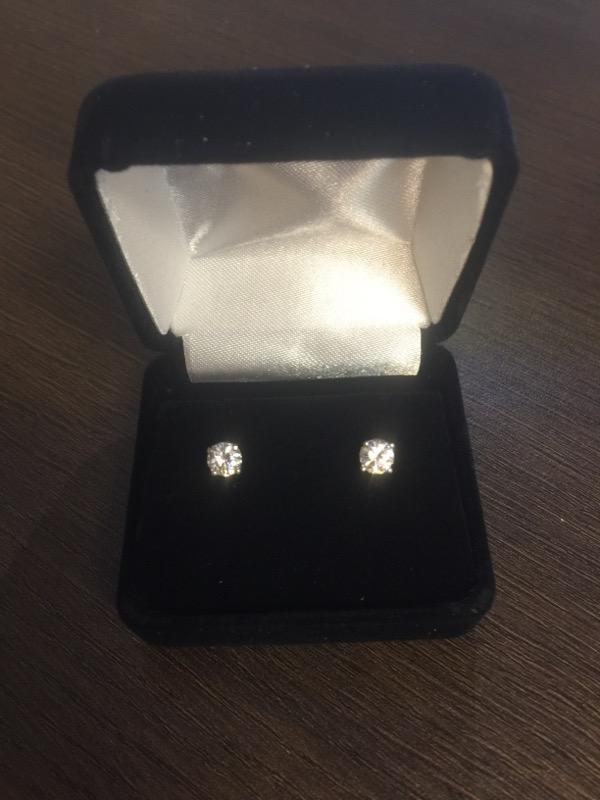 Gold-Diamond Earrings 2 Diamonds .76 Carat T.W. 14K White Gold 1g