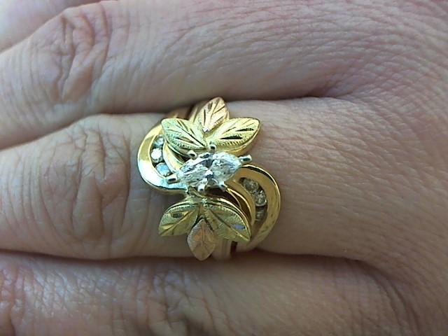 Lady's Diamond Wedding Set 7 Diamonds .45 Carat T.W. 14K Tri-color Gold 6.1g