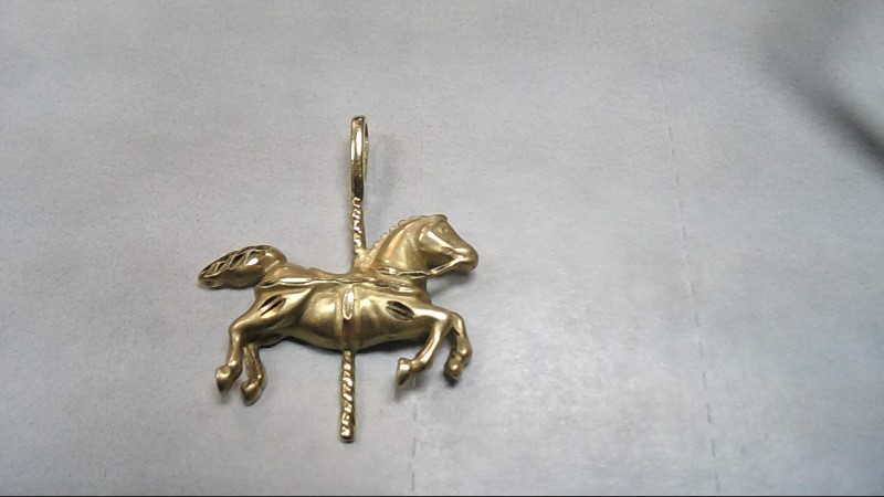 Gold Carousel Horse Pendant 14K Yellow Gold 2.5g