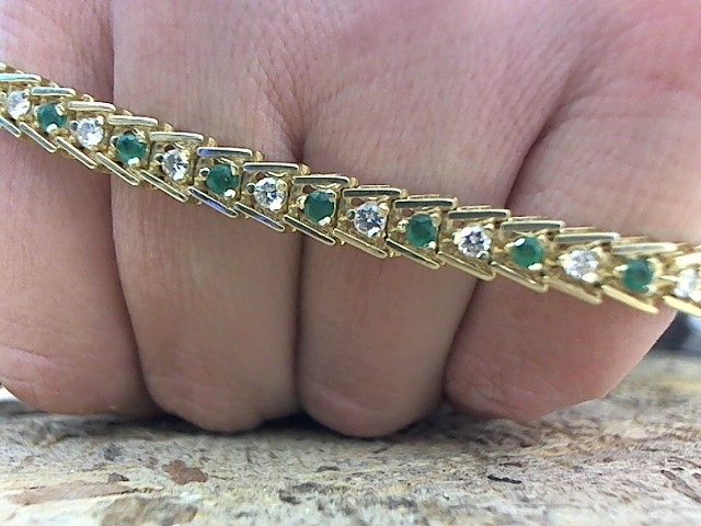 Green Stone Gold-Diamond & Stone Bracelet 21 Diamonds .84 Carat T.W.