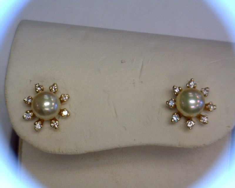 Pearl Gold-Diamond & Stone Earrings 16 Diamonds .16 Carat T.W. 14K Yellow Gold
