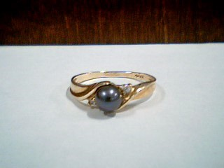 Synthetic Pearl Strand Lady's Stone & Diamond Ring 2 Diamonds .02 Carat T.W.