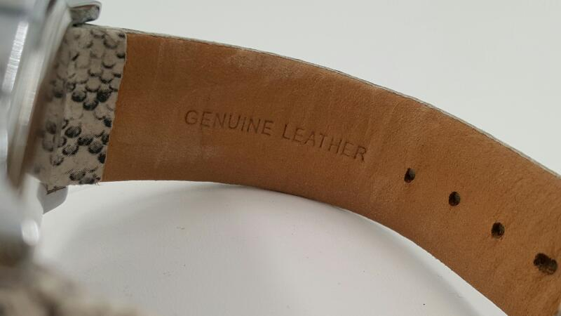Anne Klein New York Day & Night Wheel Leather & Stainless Steel