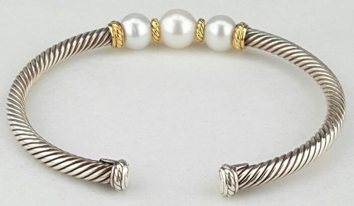 David Yurman Pearl Cable Cuff Bracelet Silver & 18K