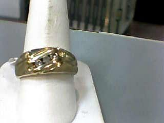 Gent's Diamond Fashion Ring 3 Diamonds .24 Carat T.W. 10K Yellow Gold 3.8dwt