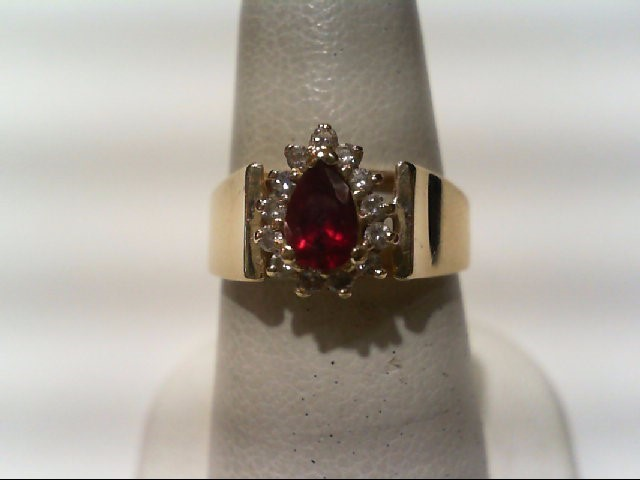 Ruby Lady's Stone & Diamond Ring 13 Diamonds .26 Carat T.W. 14K Yellow Gold