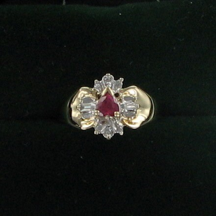 Red Stone Lady's Stone & Diamond Ring 4 Diamonds .06 Carat T.W. 10K Yellow Gold