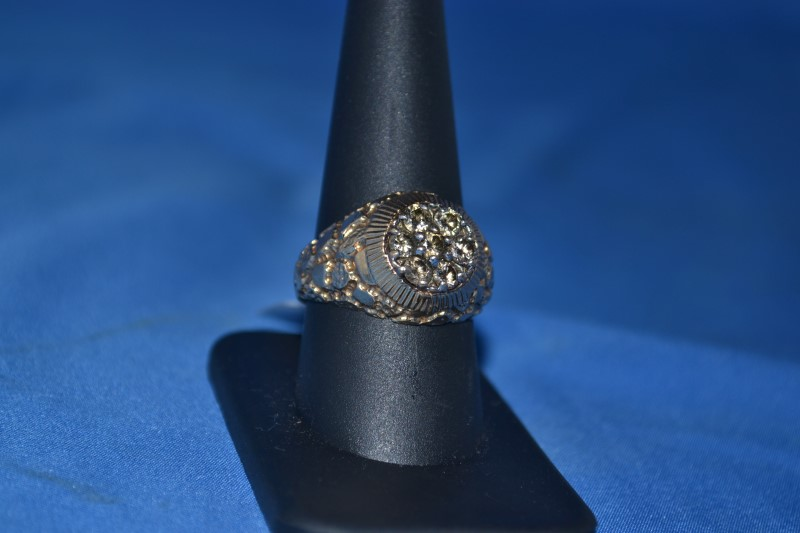 Gent's Diamond Cluster Ring 7 Diamonds .70 Carat T.W. 10K Yellow Gold 7.2g
