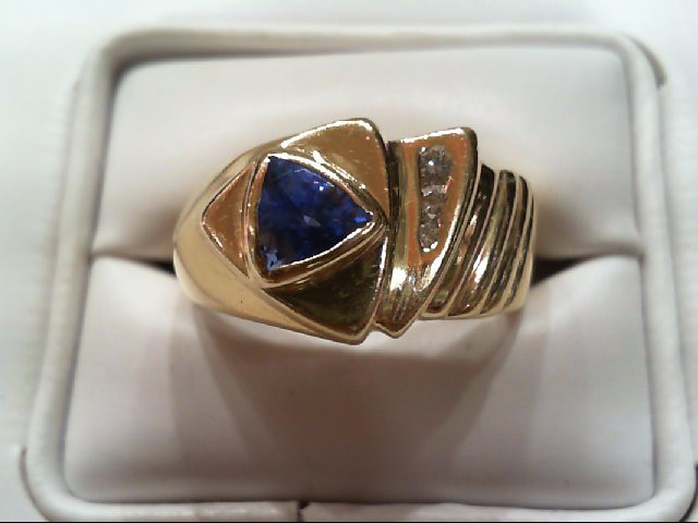 Tanzanite Gent's Stone & Diamond Ring 3 Diamonds .12 Carat T.W. 14K Yellow Gold