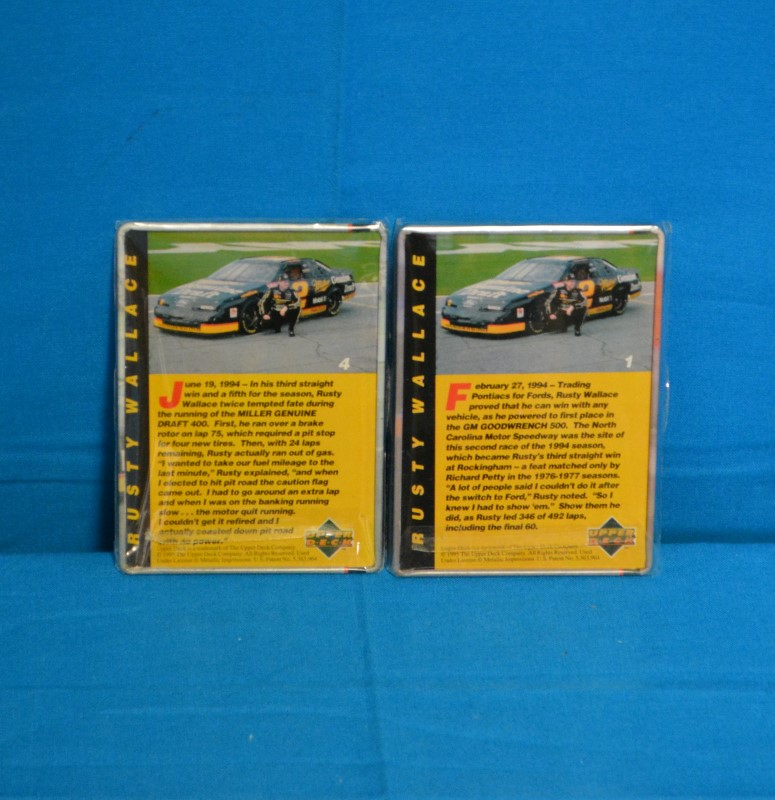 Upper Deck 1995 (5) Rusty Wallace Collector Trading Cards in Metal Tin