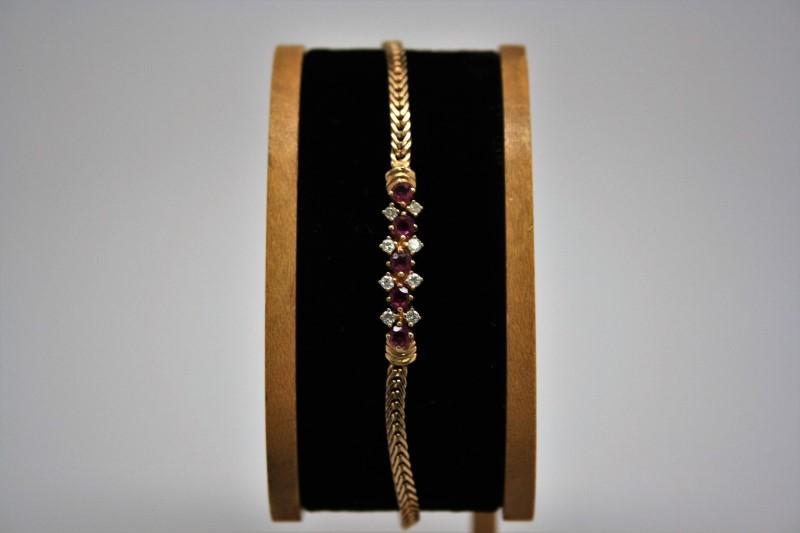 RUBY & DIAMOND FASHION BRACELET 14K YELLOW GOLD