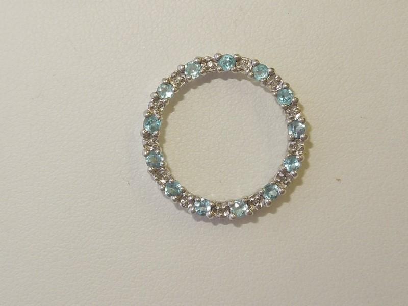Blue Stone Gold-Diamond & Stone Pendant 14 Diamonds .070 Carat T.W.
