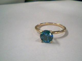 Blue Stone Lady's Stone Ring 14K Yellow Gold 1.9g Size:5.5