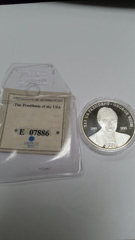AMERICAN MINT REPUBLIC OF LIBERIA $20.00 SILVER COIN GEORGE BUSH