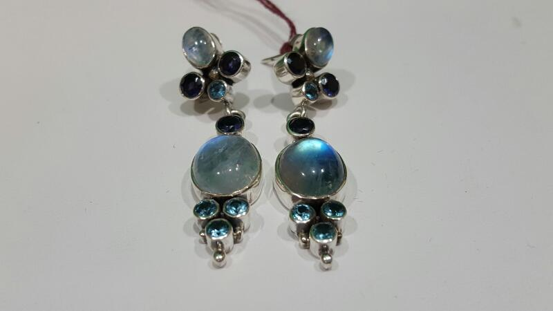 Nicky Butler Moonstone Silver-Stone Earrings 925 Silver 10g