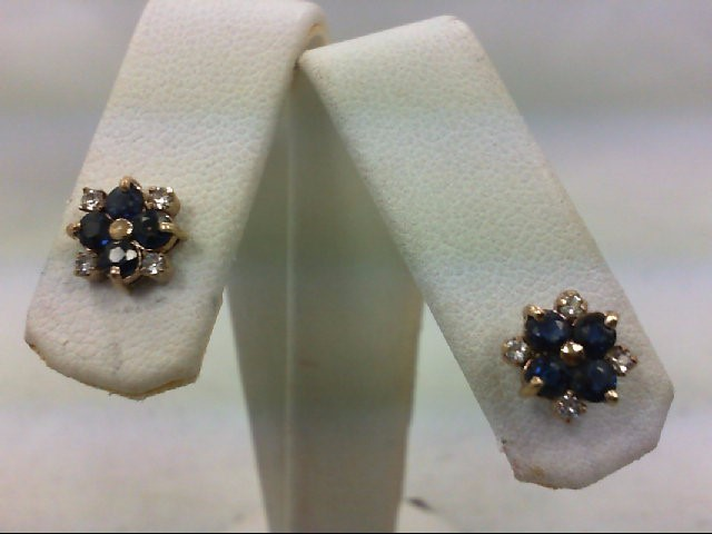 Sapphire Yellow Gold Gem Stone Earrings 14K Yellow Gold 1.7g with White Zirc's