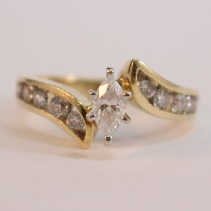 Vintage Inspired 14K Y/G Marquise Diamond Engagement Ring Size 7