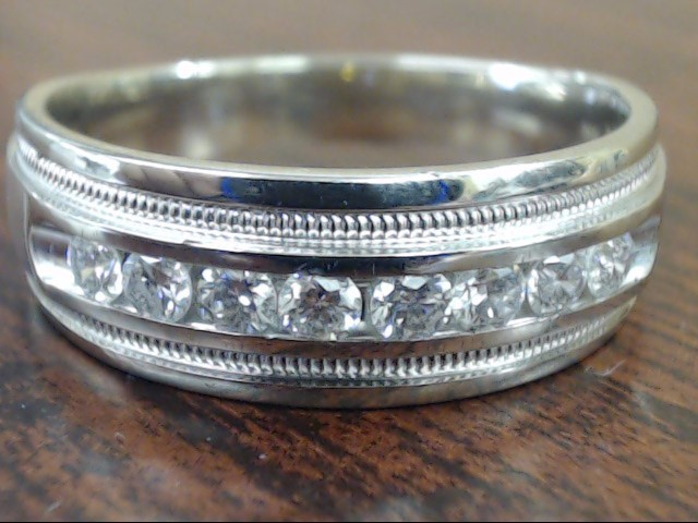 ESTATE NATURAL DIAMOND 8mm WEDDING RING BAND 14K WHITE GOLD SZ 11.5