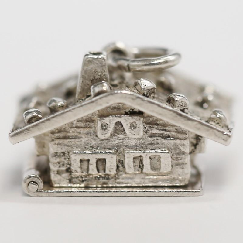 800 Fine Silver Hinged Cabin/Chalet Charm w/ Sleeping Couple Inside