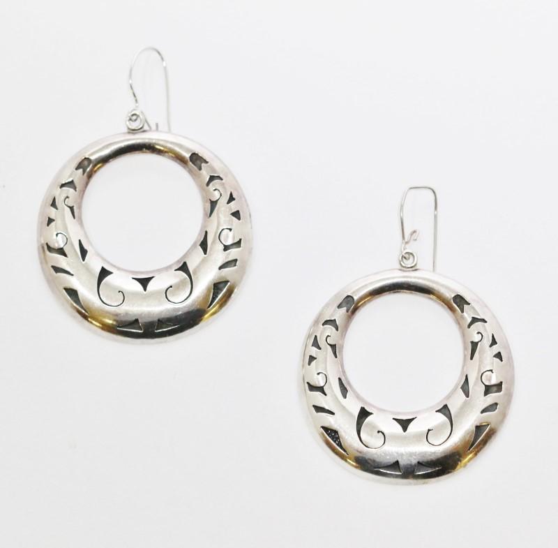 Vintage TAXCO Sterling Silver Filigree Circle Hoop Drop Dangle Earrings