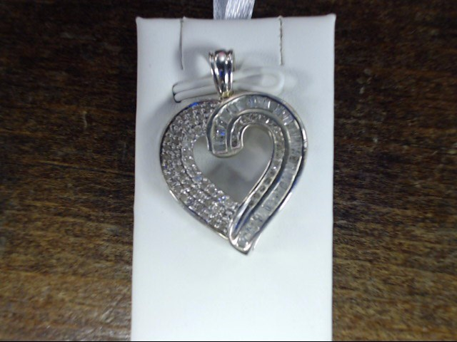 Silver-Diamond Pendant 55 Diamonds .55 Carat T.W. 925 Silver 4.2g