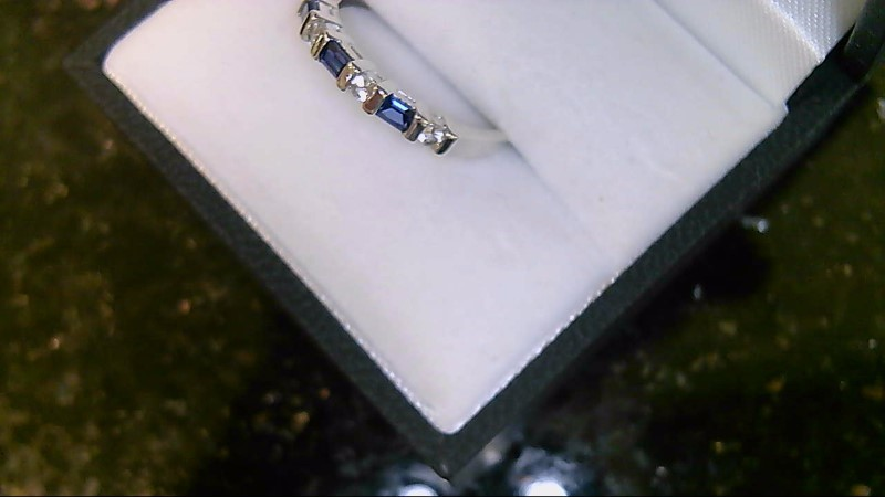 Lady's Synthetic Blue Sapphire and CZ Silver Ring